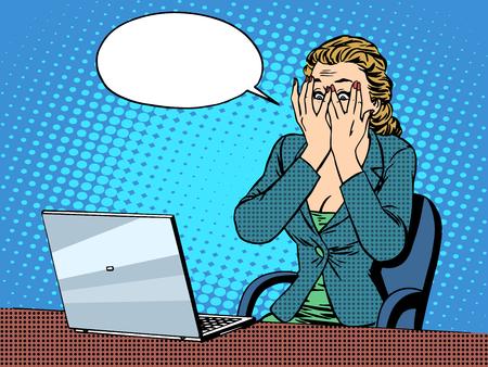 Ilustración de Businesswoman with laptop bad news pop art retro style. The business and technology. Emotions and feelings. Office work - Imagen libre de derechos