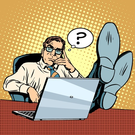 Questions and thoughts the businessman at laptop pop art retro style. The solution of the problem. Creative process. Work in the office