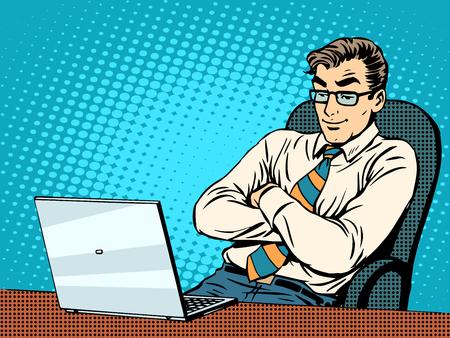Ilustración de Good businessman at laptop pop art retro style. Work in the office. New technologies. The Internet and good news - Imagen libre de derechos