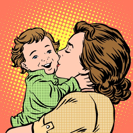 Illustration for Mother kissing baby pop art retro style. Childhood and motherhood. Love women and son - Royalty Free Image