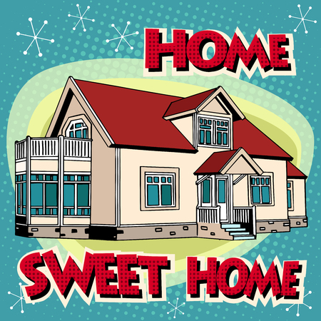Ilustración de Sweet home cottage pop art retro style. Private house. Building architecture. Real estate rent sell construction. - Imagen libre de derechos