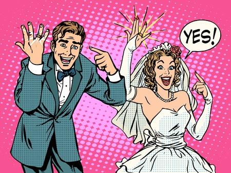 Ilustración de Happy bride and groom with wedding rings pop art retro style. Love romantic emotions. Valentines day and wedding. A man and a woman. Wedding and marriage. Gold ring jewelry - Imagen libre de derechos