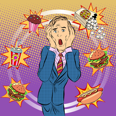 Illustration pour Fast food man unhealthy diet panic pop art retro style. The health of a person. Office lunch. Time and food - image libre de droit