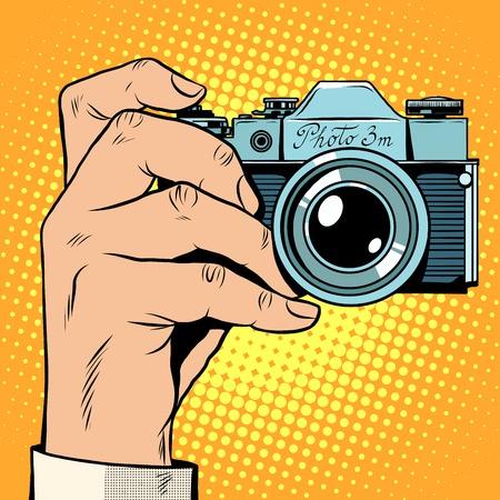 Illustration for Retro camera snapshot selfie pop art retro style. Photo photography picture technique - Royalty Free Image