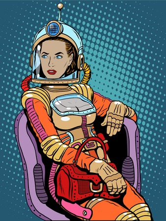 Illustration pour Space girl beauty sexy science fiction pop art retro style. A woman sits in a chair. International womens day. Female power - image libre de droit