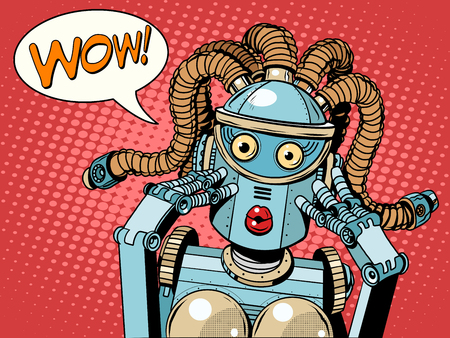 Illustration for Wow beautiful woman robot pop art retro style. Unexpected news. Technology and progress. The invention and gadgets. Womens emotions. Humanoid robot - Royalty Free Image