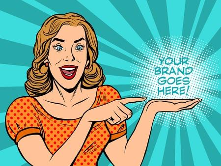 Illustration pour Girl promotional your brand goes here pop art retro style. A poster announcement. Business concept sales - image libre de droit