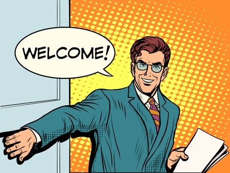 Illustration pour Welcome businessman opens the door pop art retro style. Input. The beginning of the business meeting - image libre de droit
