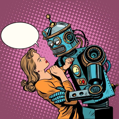 Ilustración de Robot woman love computer technology pop art retro style. Loving couple man and woman. Computer technology and the danger of technical progress. Machine and people. - Imagen libre de derechos