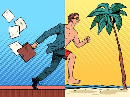 Businessman dreaming about the rest pop art retro style. Beach sea tourism tropics. Office work business concept. Vacation travel joy