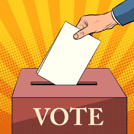 voter ballot box politics elections pop art retro style. Ballot. Civil rights. The right choice