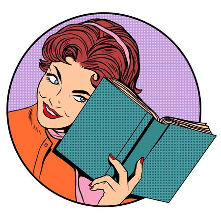 Illustration pour Woman with a book pop art retro style. Literature and reading. Education school University. Clever girl - image libre de droit