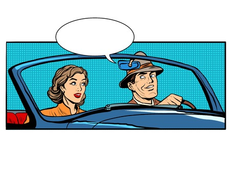 Illustration for Couple man and woman in convertible car pop art retro style. The driver and passenger. Transport on the road - Royalty Free Image