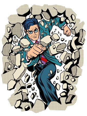 power business businessman breaks wall pop art retro style. Breakthrough business leader. Superhero