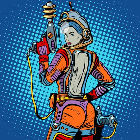 Girl space marine science fiction retro pop art retro style. The weapon of the future. The army and soldiers. The girl with the weapon