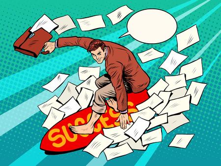 Illustration pour Businessman surfer success pop art retro style. Business concept sport leadership financial success - image libre de droit