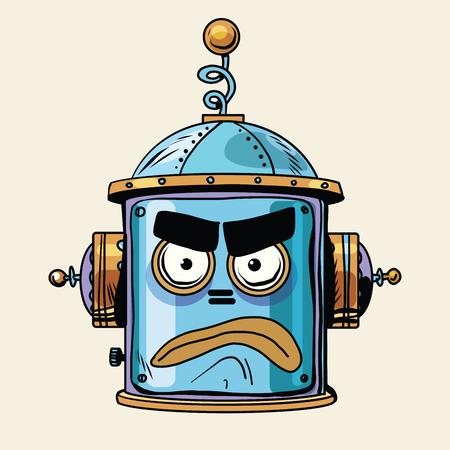 emoticon angry robot head, pop art retro style.