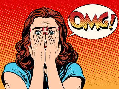Ilustración de Surprised OMG shocked woman pop art retro style. The girl in the emotions. Wow effect - Imagen libre de derechos