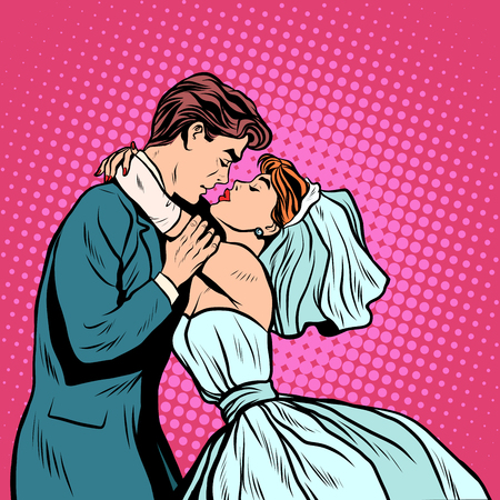 Illustration pour Pair of bride and groom first kiss pop art retro style. Wedding man and woman. Wedding ceremony. The betrothal. Invitation and postcard - image libre de droit