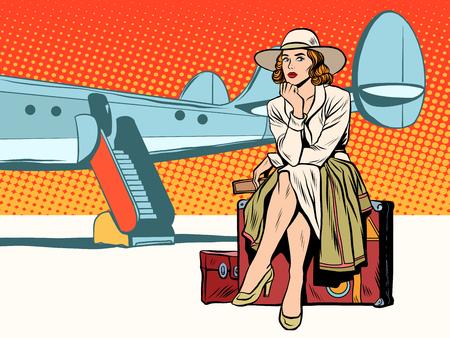 Vektor für Tourist girl sitting on a suitcase, travelling by plane pop art retro style. Journey and adventure. Heavy baggage. - Lizenzfreies Bild
