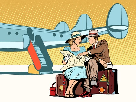 Ilustración de Tourists couple looking at the map, after landing pop art retro style. The airport and the plane. The tourist route. Attractions and navigation. Foreign tourists - Imagen libre de derechos