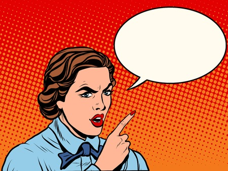 Illustration pour Attention serious girl pop art retro style. Angry retro lady. Beautiful girl angry. Woman pointing finger - image libre de droit