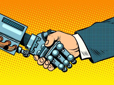 Illustration pour Handshake of robot and man. New technologies and evolution pop art retro style. - image libre de droit
