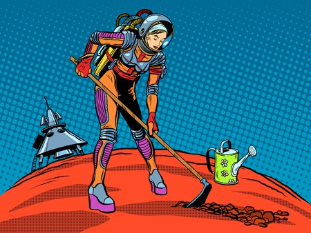 Girl astronaut ecology plant care planet pop art retro style. The exploration of Mars and other planets. Earth day. Ecology and nature. Future and science fiction. Space travel