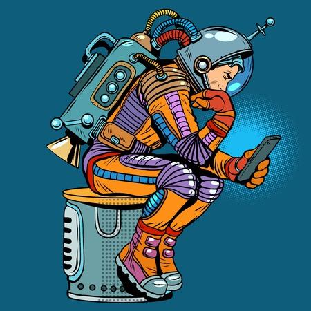 retro astronaut with a smartphone pop art retro style.