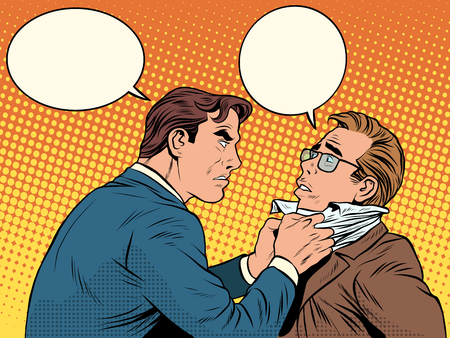 Illustration pour Conflict men fight quarrel businessman pop art retro style. Emotions and crime. The customer and the businessman with bubbles for text - image libre de droit