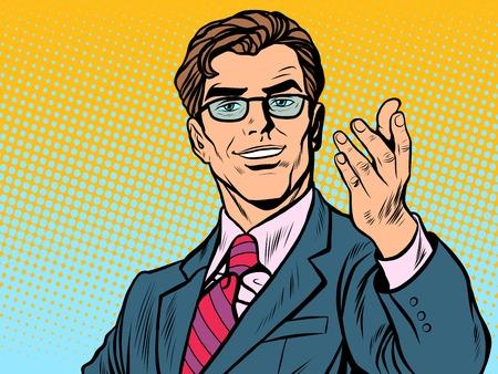 Illustration pour Friendly man businessman pop art retro style. Retro businessman. Vector illustration - image libre de droit
