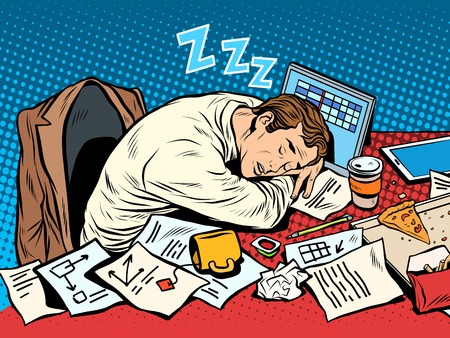 Illustration pour Man businessman sleeping on the job pop art retro style. Hard work. Later in the meeting. Businessman at work - image libre de droit
