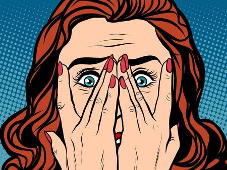 Illustration pour Frightened shocked girl pop art retro style. The face of a woman emotions - image libre de droit