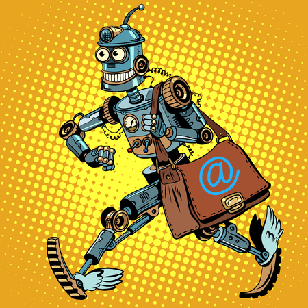 Photo pour Automatic mailing of the robot pop art retro style. business mailing. Advertising mailing. E-mail. Robot mailman - image libre de droit