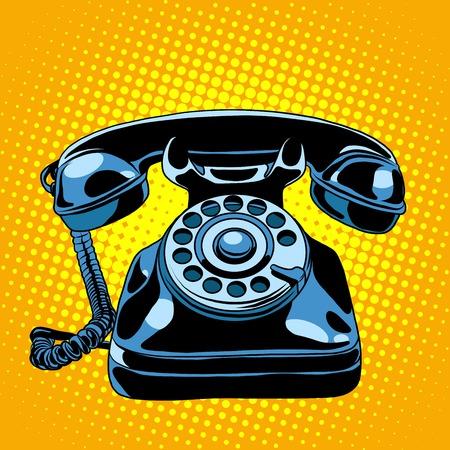 Black retro phone pop art style retro. Communication and gadgets. Talking on the phone