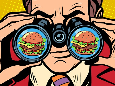 Illustration pour A hungry man wants a Burger pop art retro style. Hunger and food. Man looking through binoculars - image libre de droit