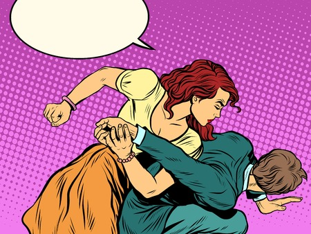Illustration for Woman beats man in fight pop art retro style. Woman hits a man. Self defence women. Competition. - Royalty Free Image