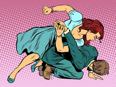Ilustración de Woman beats man in fight pop art retro style. Woman hits a man. Self defence women. Competition. - Imagen libre de derechos