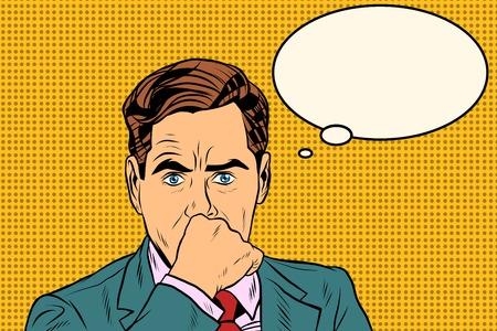 Illustration pour businessman thinker man pop art retro style. Business concept idea. Vector thought - image libre de droit
