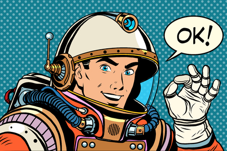 Illustration pour OK astronaut man okay gesture well pop art retro style. Okay vector. Retro space good quality - image libre de droit