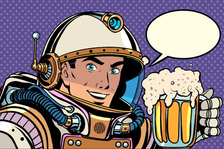 Illustration pour Astronaut with a mug of foaming beer pop art retro style. Kvass and beer. Bars, pubs and restaurants - image libre de droit