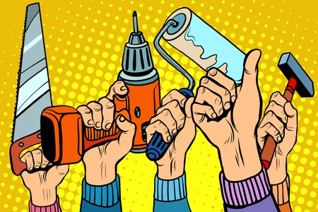 Tools saw drill paint roller hammer pop art retro style. Tools for repair. Repairs and construction. Skill and ability