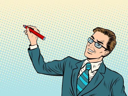 Ilustración de Male business coach draws on background pop art retro style. Business training. Drawing Board - Imagen libre de derechos
