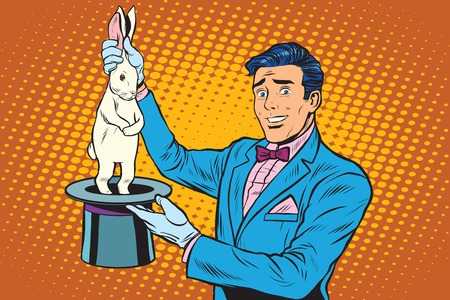 Illustration pour Magician trick rabbit pop art retro style. Magic hat. The illusionist trick circus. Circus rabbit. - image libre de droit