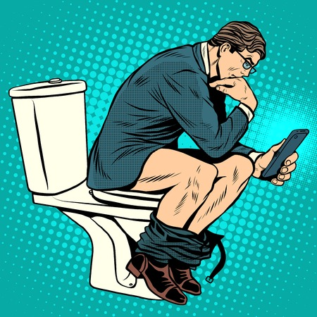 Ilustración de businessman thinker on toilet pop art retro style. A man reads news in the smartphone in the toilet. Modern life. Humor - Imagen libre de derechos