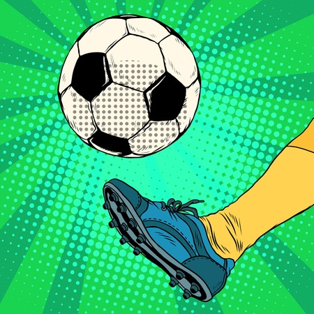 Kick a soccer ball pop art retro style. The European football. The free-kick