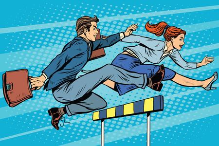 Ilustración de Business competition woman and man running pop art retro style. Running hurdles. Sport and business. - Imagen libre de derechos