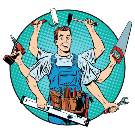 Illustration pour multi-armed master repair professional pop art retro style. Industry repair and construction. Man with tools in his hands. - image libre de droit