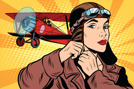 Illustration for Girl retro military pilot pop art retro style. The army and air force. A woman in the army - Royalty Free Image