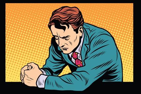 Illustration pour Prayer man praying, sad emotions pop art retro style. Religion and faith. Retro man vector - image libre de droit